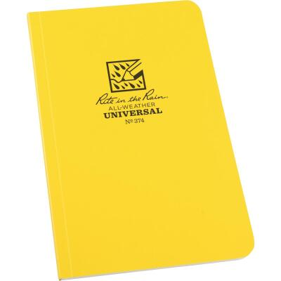 Rite in the Rain All-Weather 4-5/8 In. W. x 7-1/4 In. H. 64-Sheet Soft Cover Side-Bound Notebook, Yellow