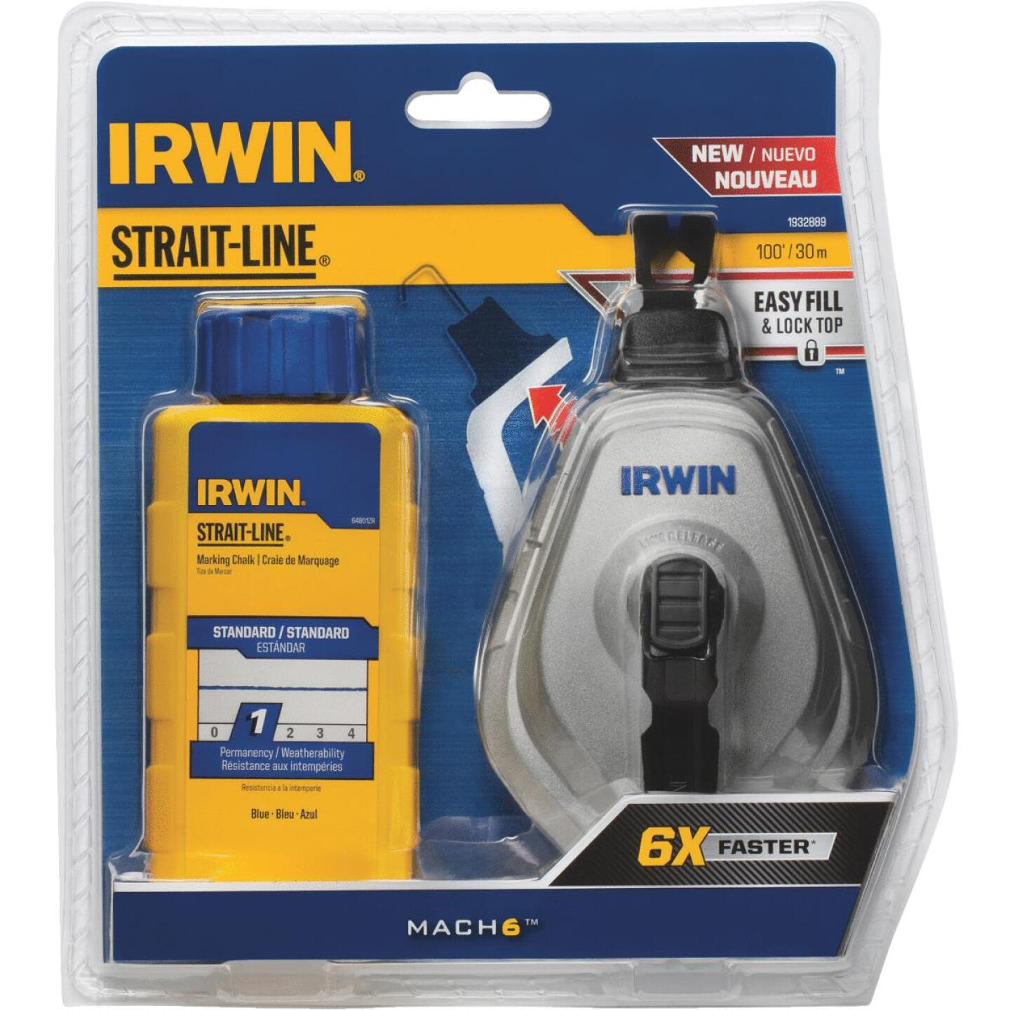Irwin STRAIT-LINE Mach6 100 Ft. Chalk Line Reel and Chalk, Blue Image 1