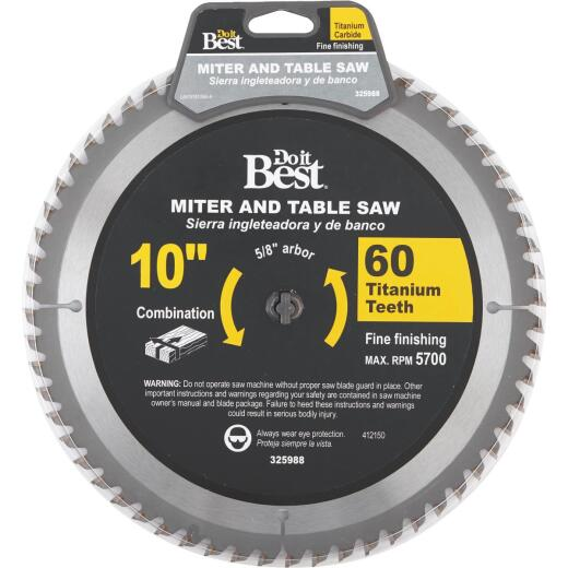 Do it Best Professional 10 In. 60-Tooth Fine Crosscut/Plywood Circular Saw Blade