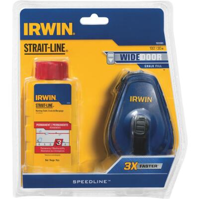 Irwin STRAIT-LINE Speed-Line 100 Ft. Chalk Line Reel and Chalk, Red