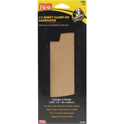 Do it Best Aluminum Oxide 150C Grit 1/3 Sheet Power Sanding Sheet (6-Pack)