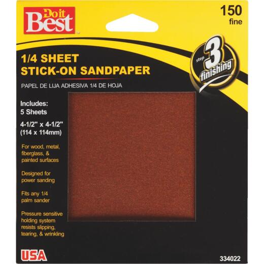 Do it Best Stick-On 150 Grit 1/4 Sheet Power Sanding Sheet (5-Pack)