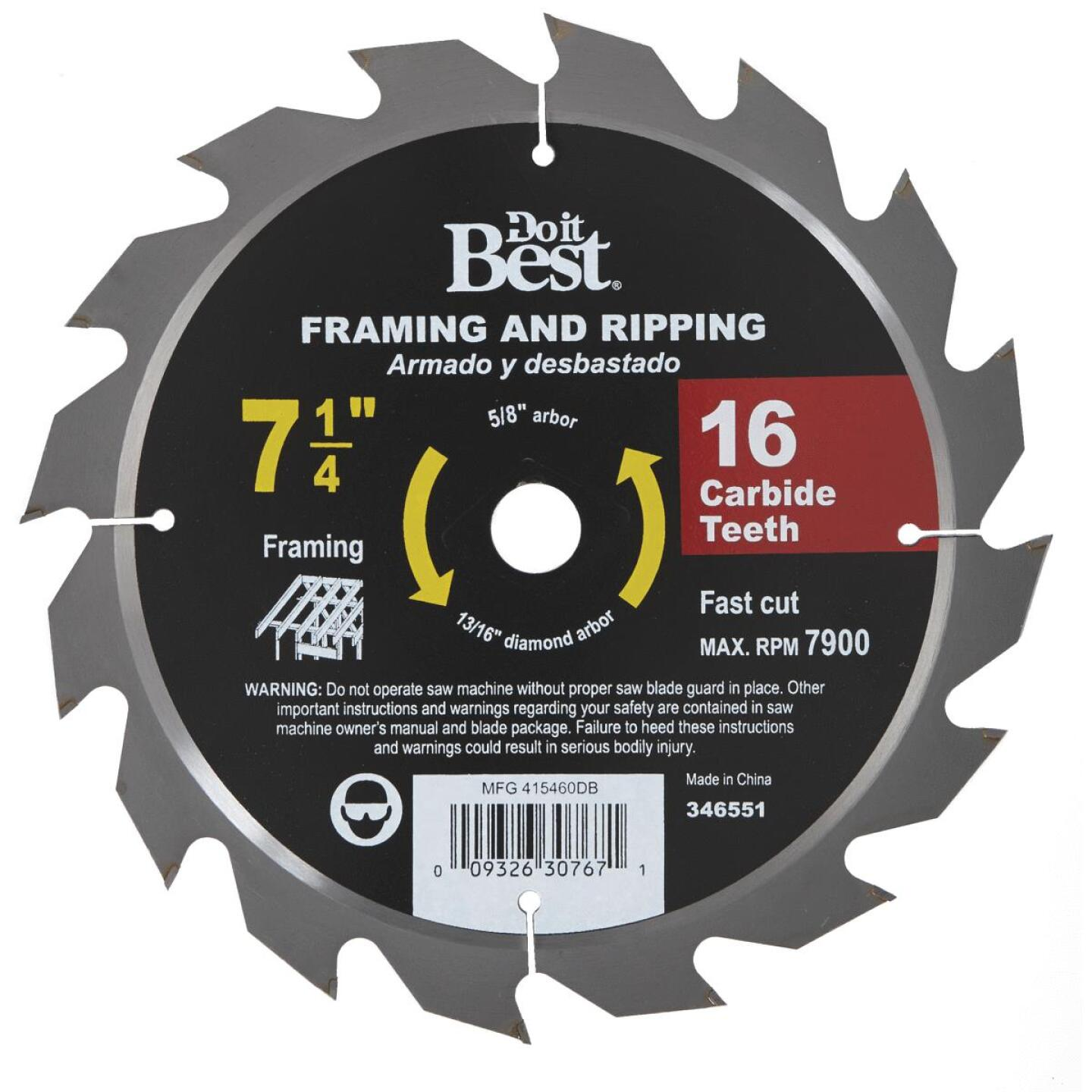Do it Best 7-1/4 In. 16-Tooth Framing & Ripping Circular Saw Blade, Bulk Image 1