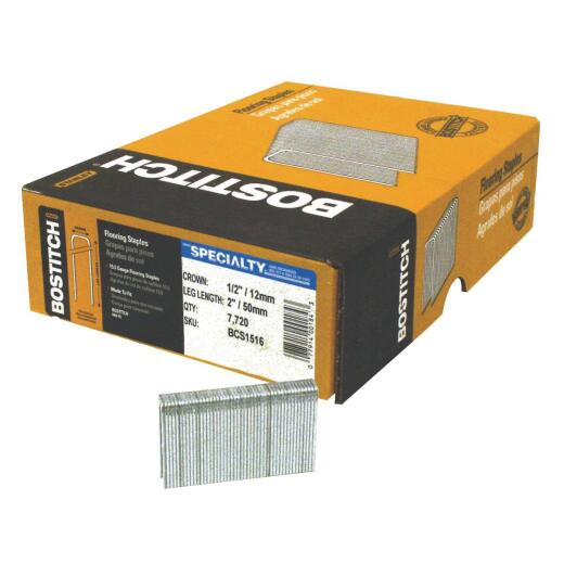 Bostitch 15-1/2-Gauge Galvanized Hardwood Flooring Staple, 1/2 In. x 2 In. (7700 Ct.)