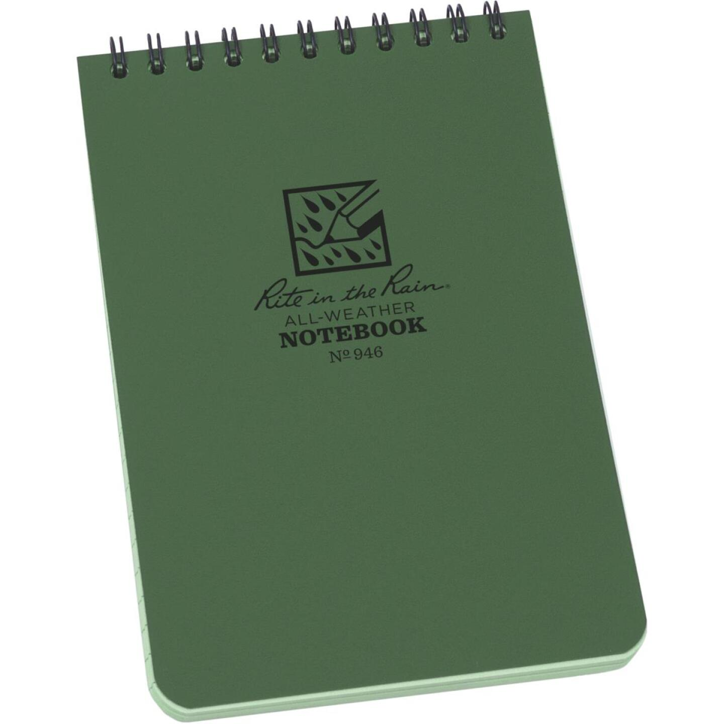 Rite in the Rain All-Weather 4 In. W x 6 In. H 50-Sheet Top-Spiral Bound Notebook, Green Image 1