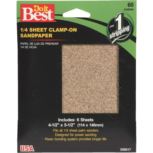 Do it Best 60 Grit 1/4 Sheet Power Sanding Sheet (6-Pack)