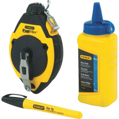 Stanley FatMax 100 Ft. Chalk Line Reel and Chalk with Marker, Blue