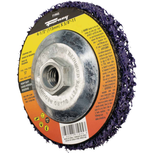 Forney Type 27 4-1/2 In. x 5/8 In. Heavy-Duty Strip & Finish Angle Grinder Stripping Disc