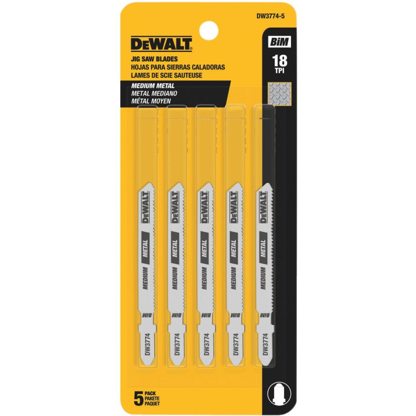 DeWalt T-Shank 3 In. x 18 TPI High Carbon Steel Jig Saw Blade, Medium Metal (5-Pack) Image 2