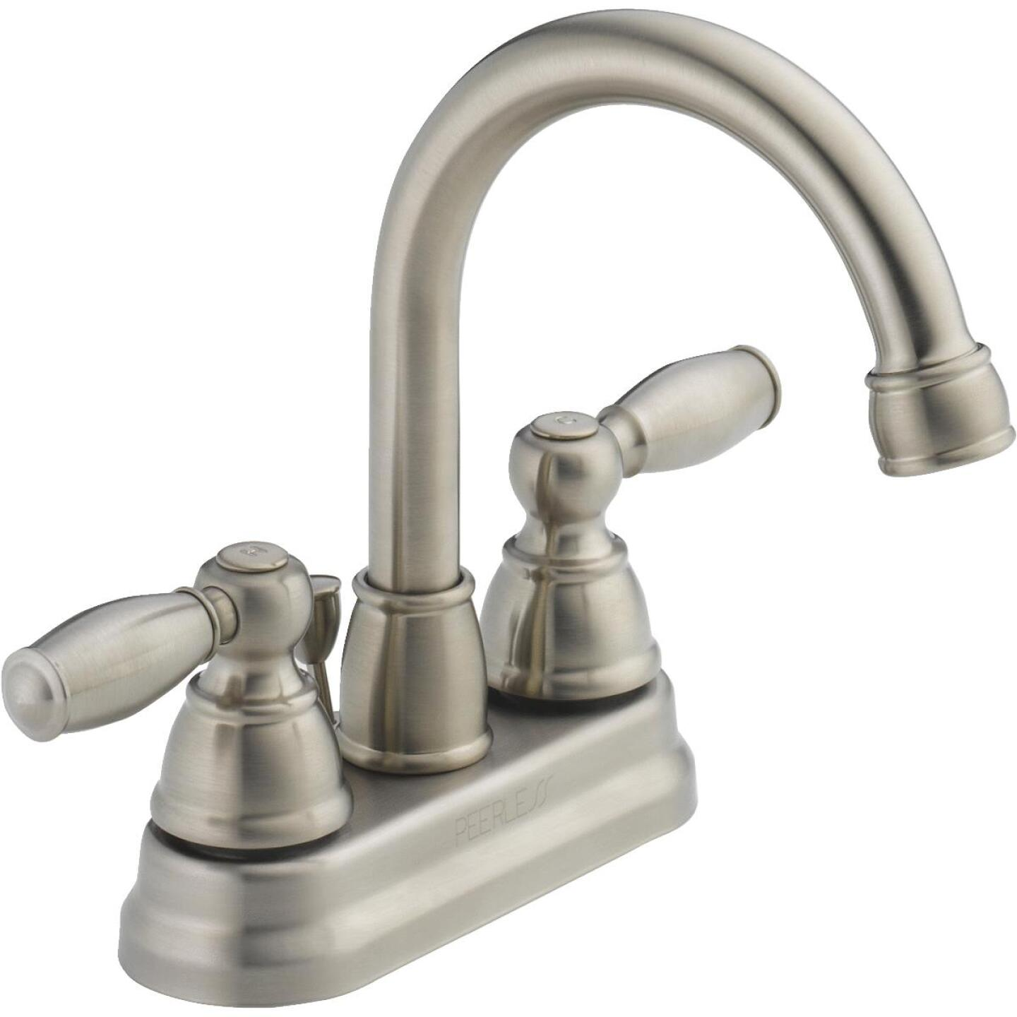 Peerless Brushed Nickel 2-Handle Lever 4 In. Centerset Hi-Arc Bathroom Faucet with Pop-Up Image 1