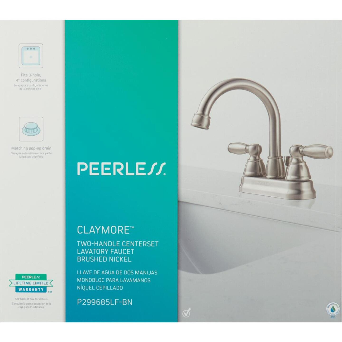 Peerless Brushed Nickel 2-Handle Lever 4 In. Centerset Hi-Arc Bathroom Faucet with Pop-Up Image 2