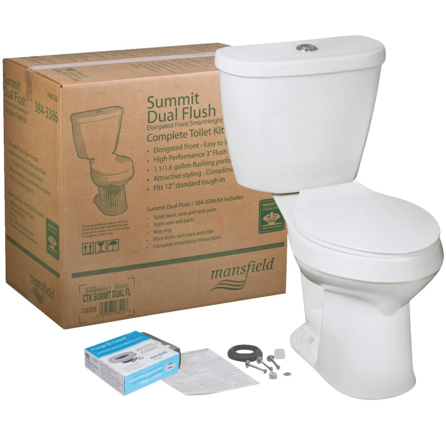 Mansfield Summit SmartHeight White Elongated Bowl 1.1 or 1.6 GPF Dual Flush Toilet Kit Image 1