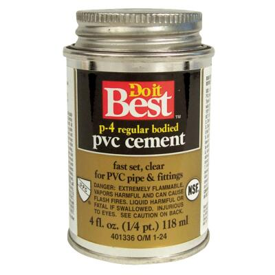 Do it Best 4 Oz. Regular Bodied Clear PVC Cement