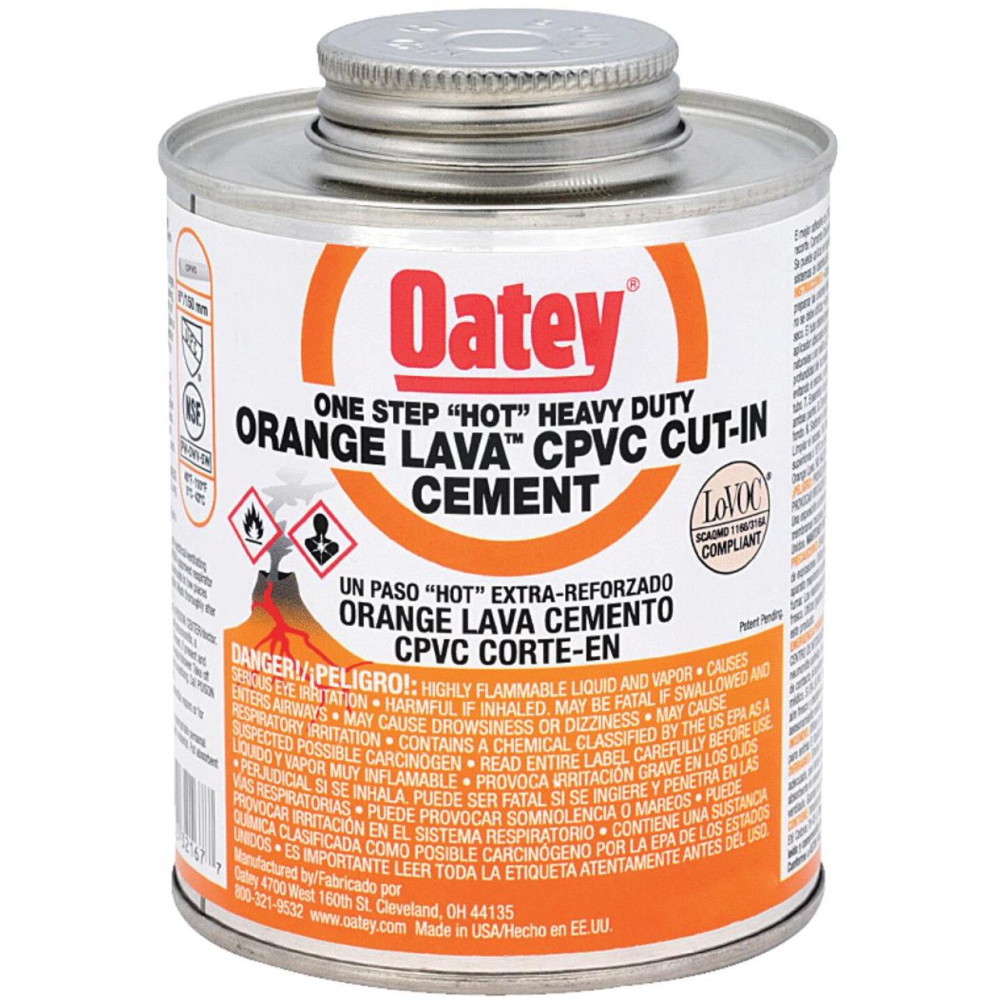 Oatey Lava 1/2 Pt.Lava Hot CPVC Cement Orange CPVC Cement Image 1