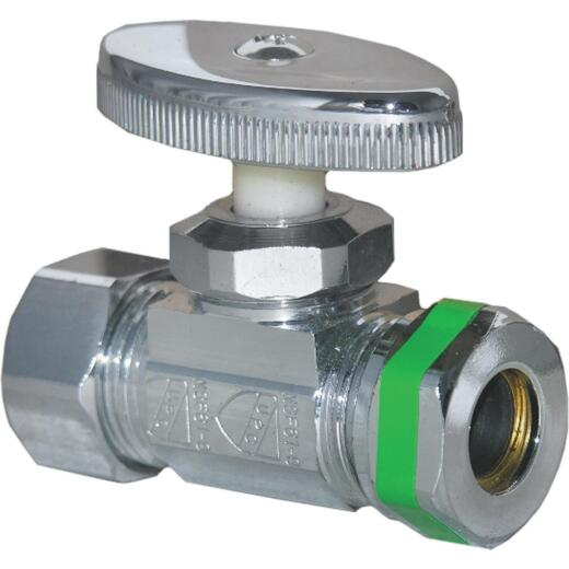 Lasco 5/8 In. Comp Inlet x 1/2 In. IP S-J Outlet Brass Straight Stop Valve