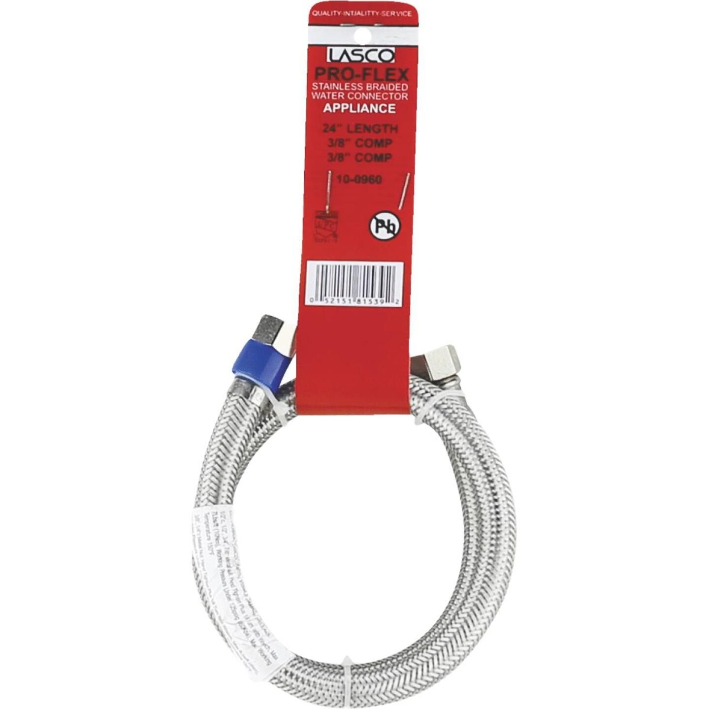 Lasco 3/8 In.C x 3/8 In.C x 24 In.L Braided Stainless Steel Flex Line Appliance Water Connector Image 2