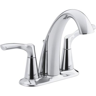 Kohler Mistos Chrome 2-Handle Lever 4 In. Centerset Bathroom Faucet with Pop-Up