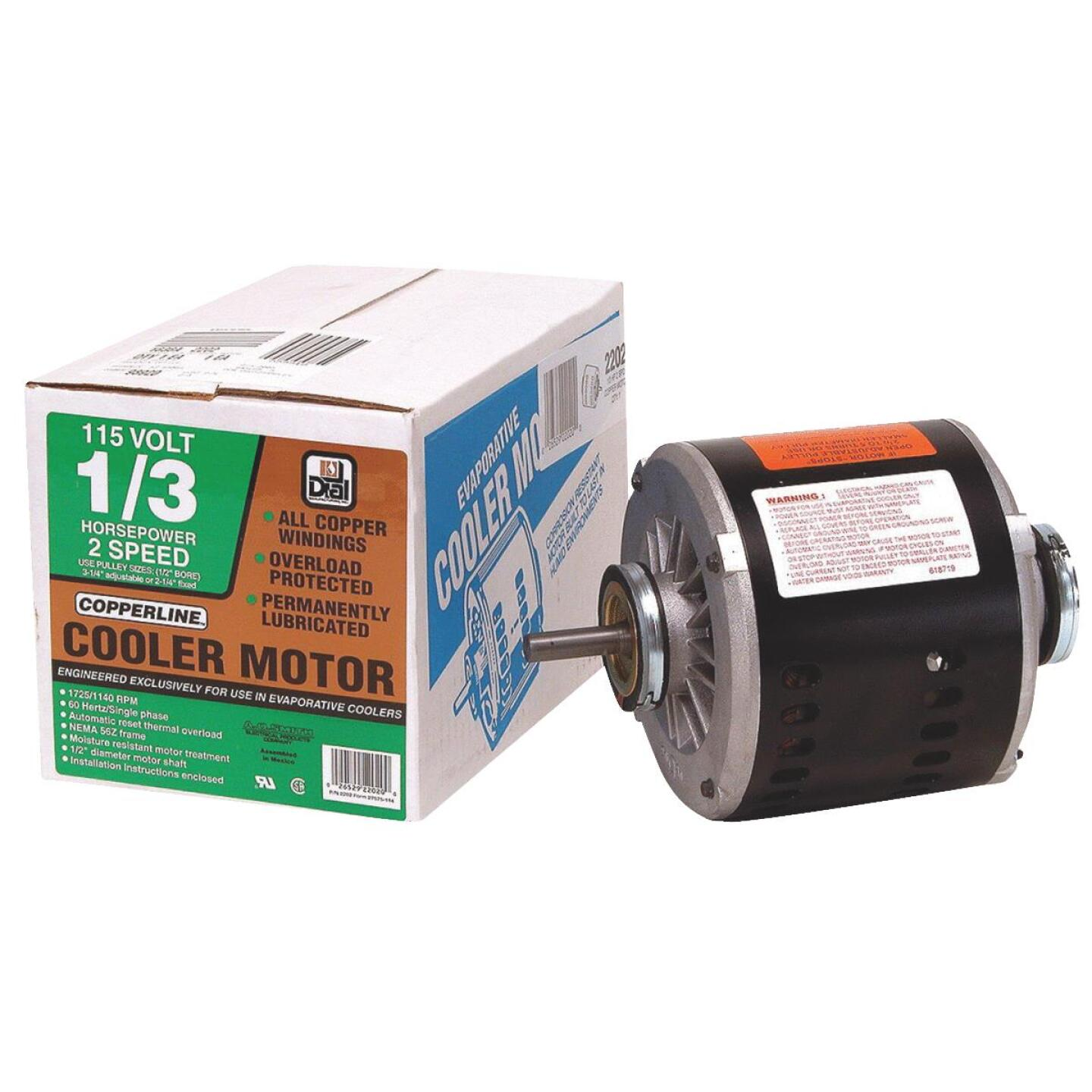 Dial 1/3 HP 2-Speed Residential Replacement Cooler Motor Image 1