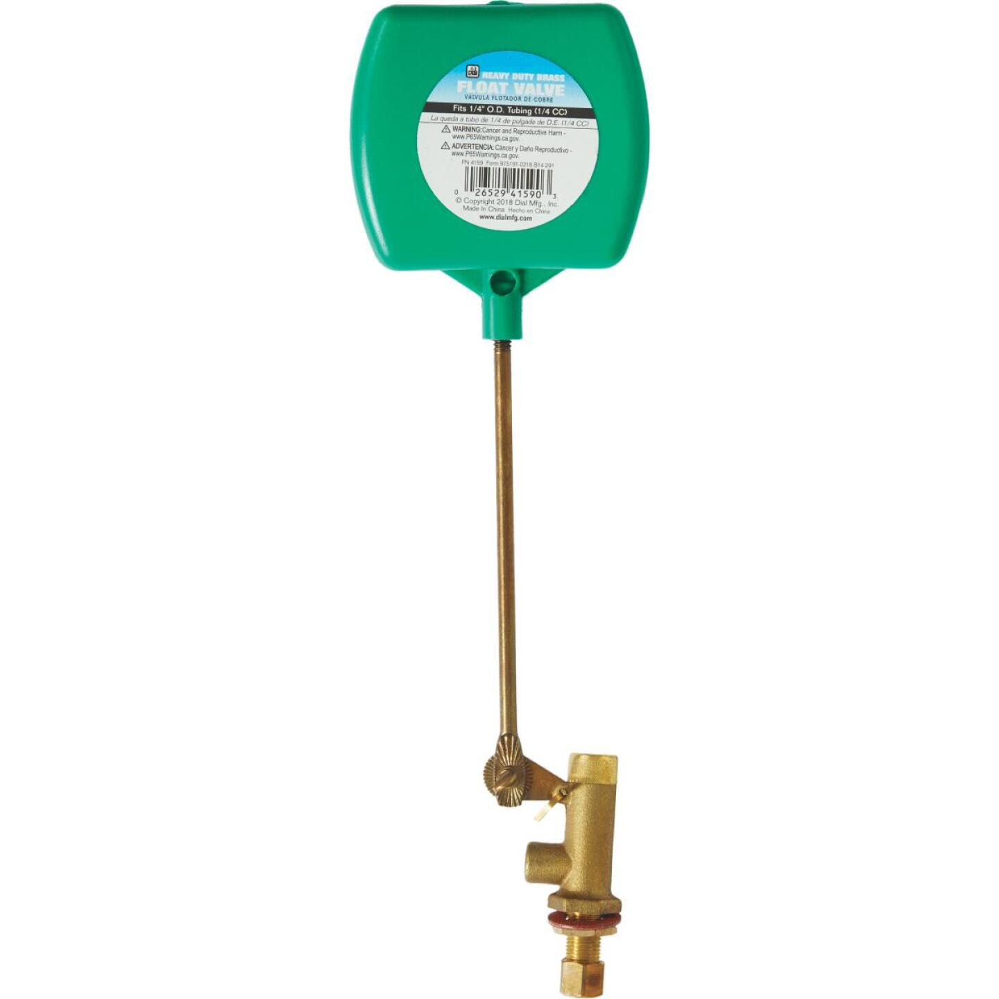 Dial 1/4 In. Brass Deluxe Heavy-Duty Evaporative Cooler Valve w/2-Piece Arm and Adjustable Screw Image 1