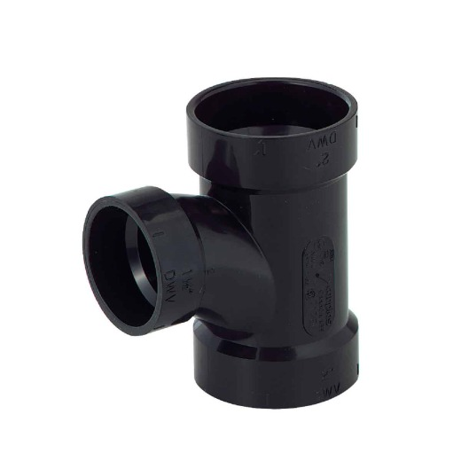 Charlotte Pipe 2 x 2 x 1-1/2 In. Hub x Hub x Hub Reducing Sanitary ABS Waste & Vent Tee