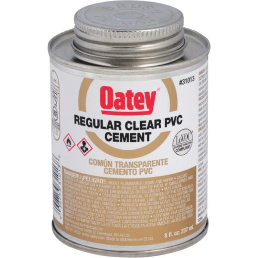Oatey 8 Oz. Regular Bodied Clear PVC Cement