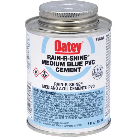 Oatey Rain-R-Shine 8 Oz. Medium Bodied Blue PVC Cement