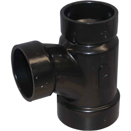 Charlotte Pipe 2 x 1-1/2 x 1-1/2 In. Hub x Hub x Hub Reducing Sanitary ABS Waste & Vent Tee