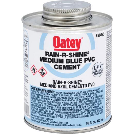 Oatey 16 Oz. Fast Setting Blue PVC Cement