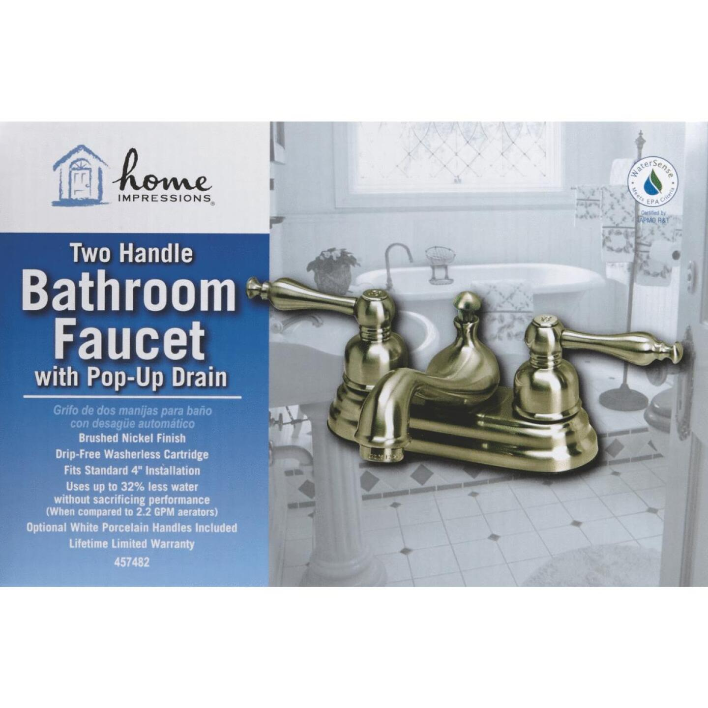 Home Impressions Brushed Nickel 2-Handle Lever 4 In. Centerset Bathroom Faucet with Pop-Up Image 3