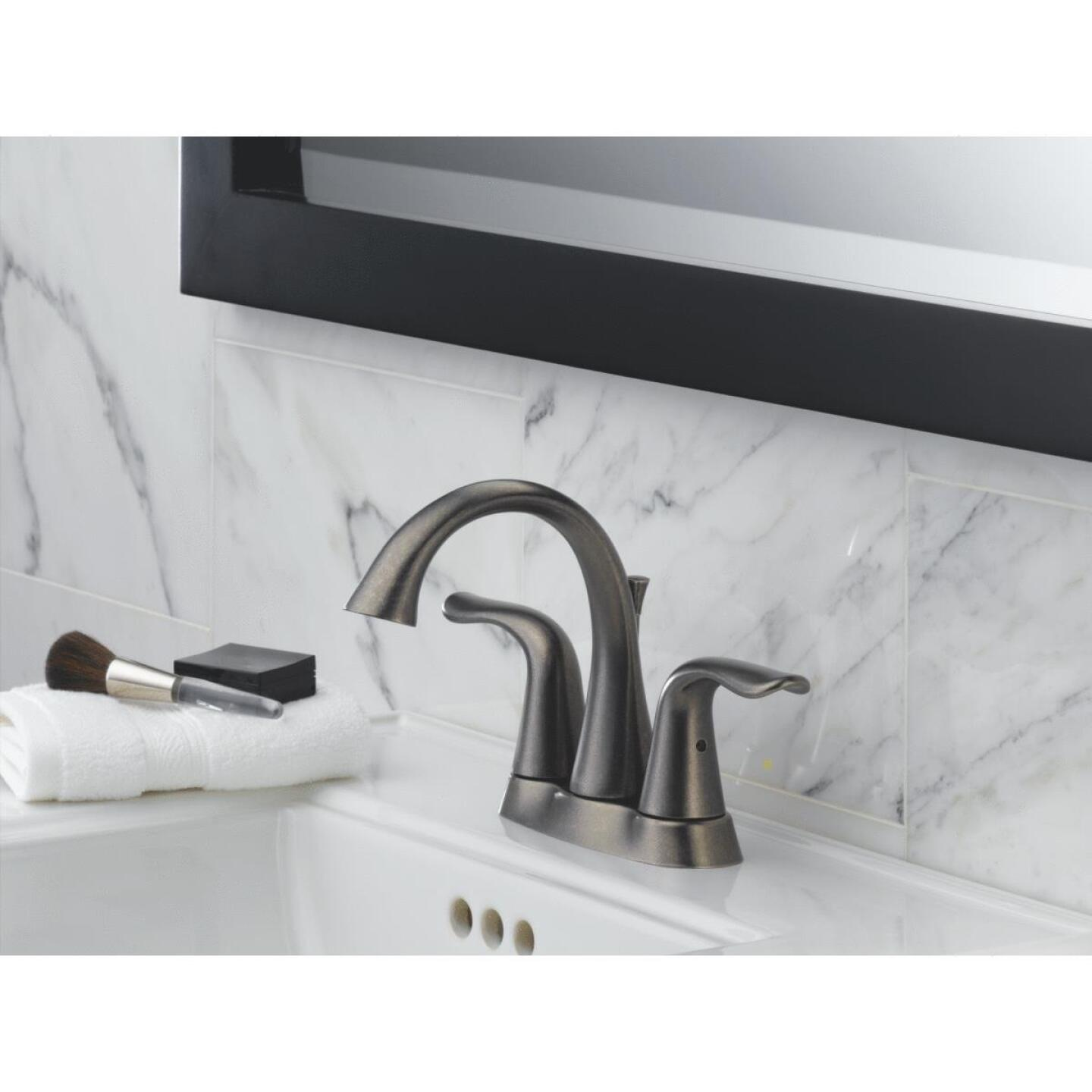Delta Lahara Stainless 2-Handle Lever 4 In. Centerset Bathroom Faucet with Pop-Up Image 3