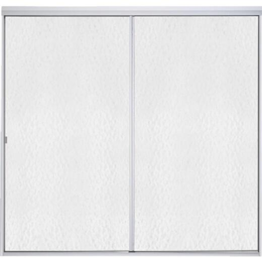 Sterling Standard 59 In. W. x 56-1/16 In. H. Chrome Hammered Glass Sliding Tub Door