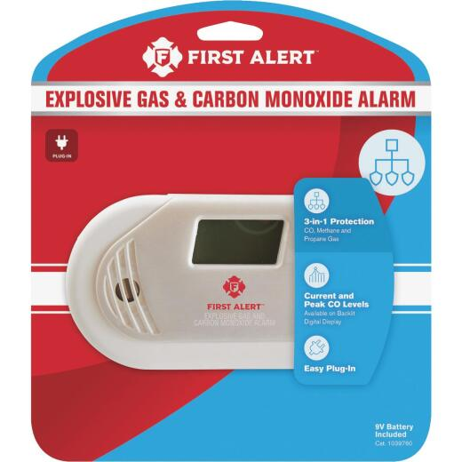 First Alert Plug-In 120V Electrochemical Carbon Monoxide Alarm & Gas Detector