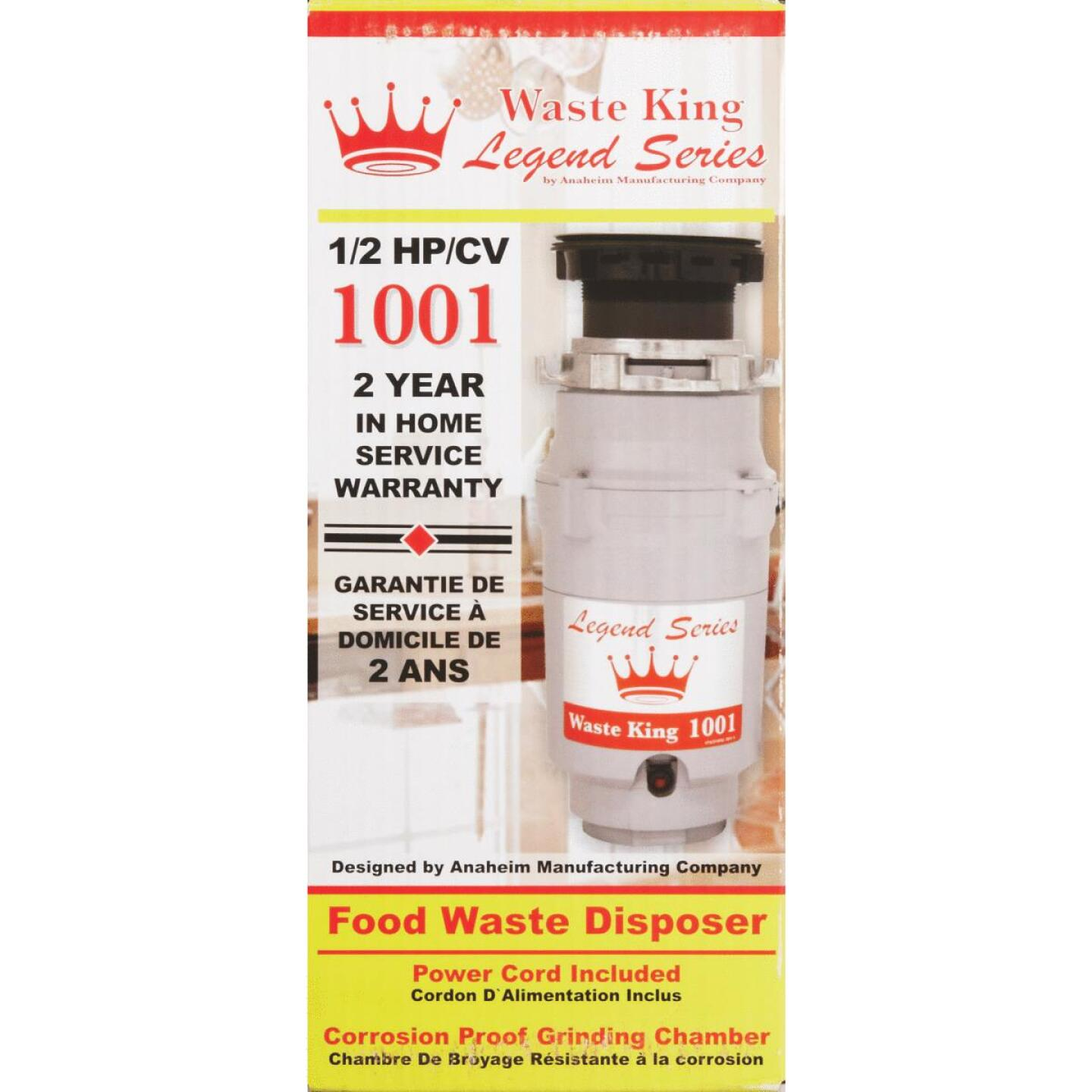 Waste King Legend Series 1/2 HP Garbage Disposal, 2 Year Warranty Image 2