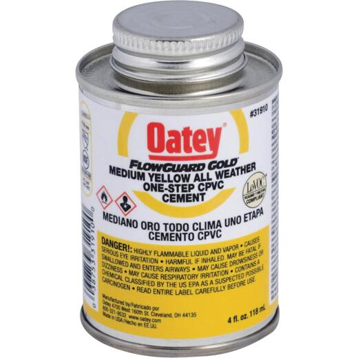 Oatey Flow Guard 4 Oz. Medium Bodied Yellow CPVC Cement