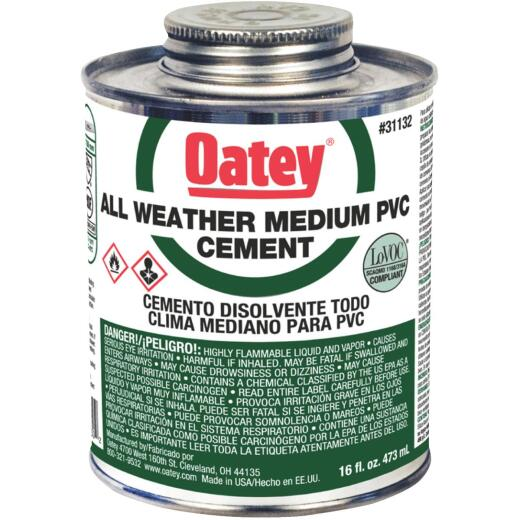 Oatey All Weather 16 Oz. Medium Bodied Clear PVC Cement