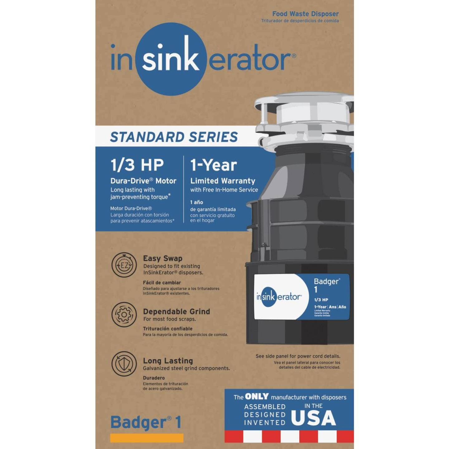 Insinkerator Badger 1/3 HP Garbage Disposal, 1 Year Warranty Image 1