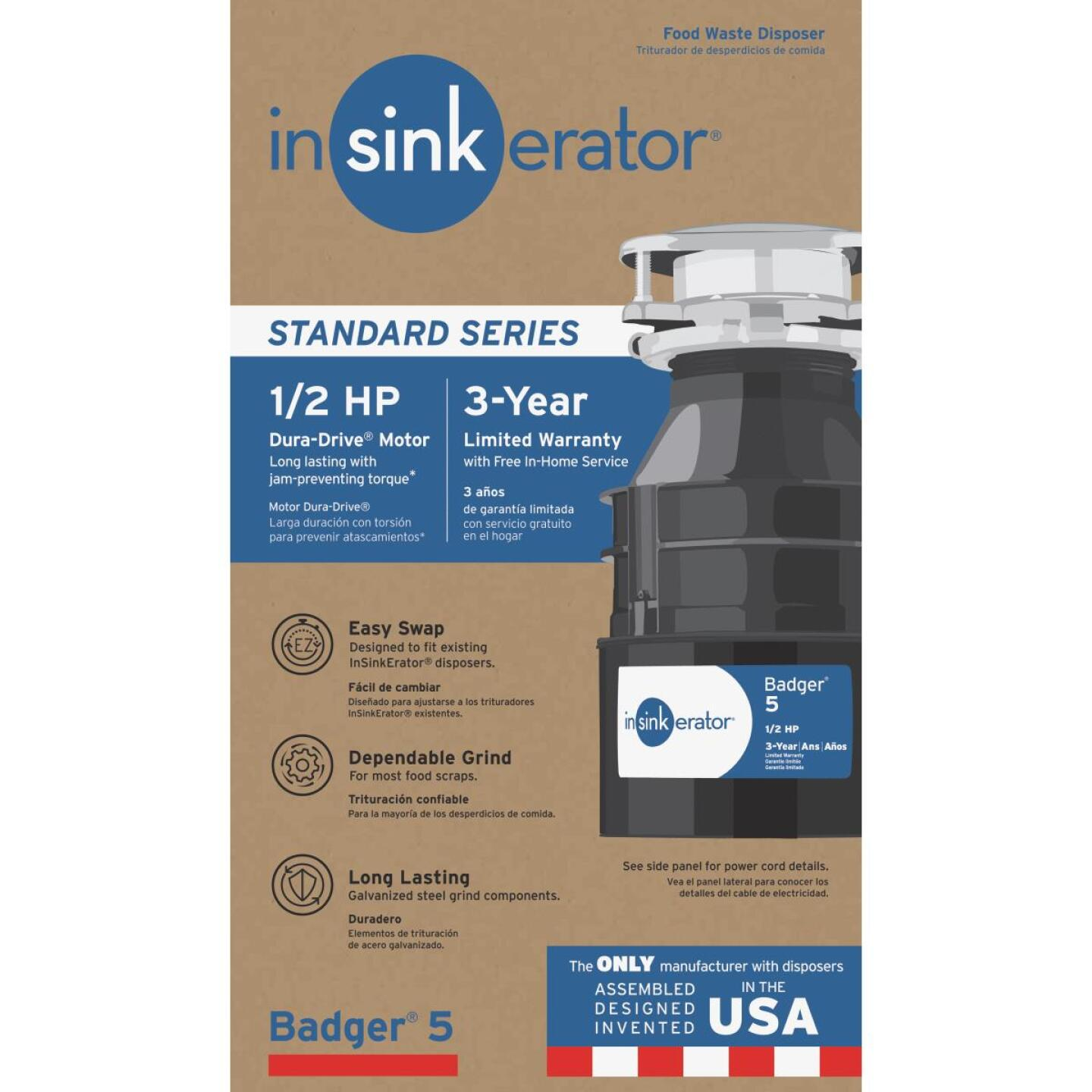 Insinkerator Badger 1/2 HP Garbage Disposal, 3 Year Warranty Image 1