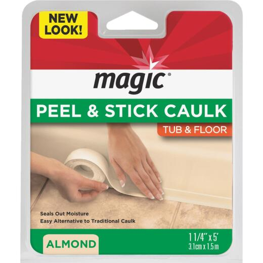 Magic 1-1/4 In. x 5 Ft. Almond Caulk Strip