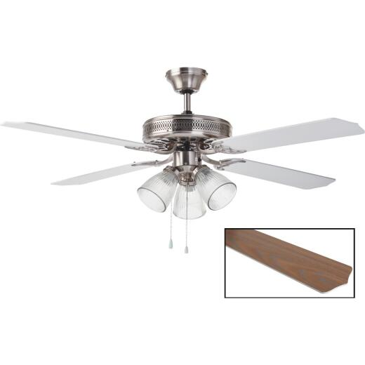 Home Impressions Chateau 52 In. Brushed Nickel Ceiling Fan with Light Kit