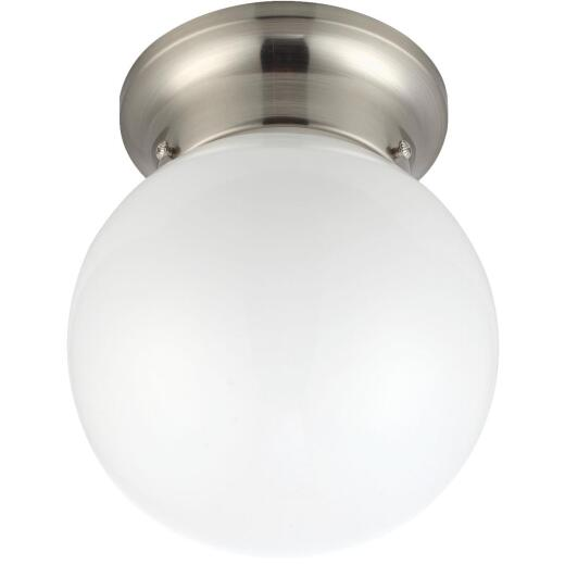 Home Impressions 6 In. Brushed Nickel Incandescent Flush Mount Ceiling Light Fixture