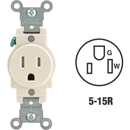 Leviton 15A Light Almond Commercial Grade 5-20R Tamper Resistant Single Outlet