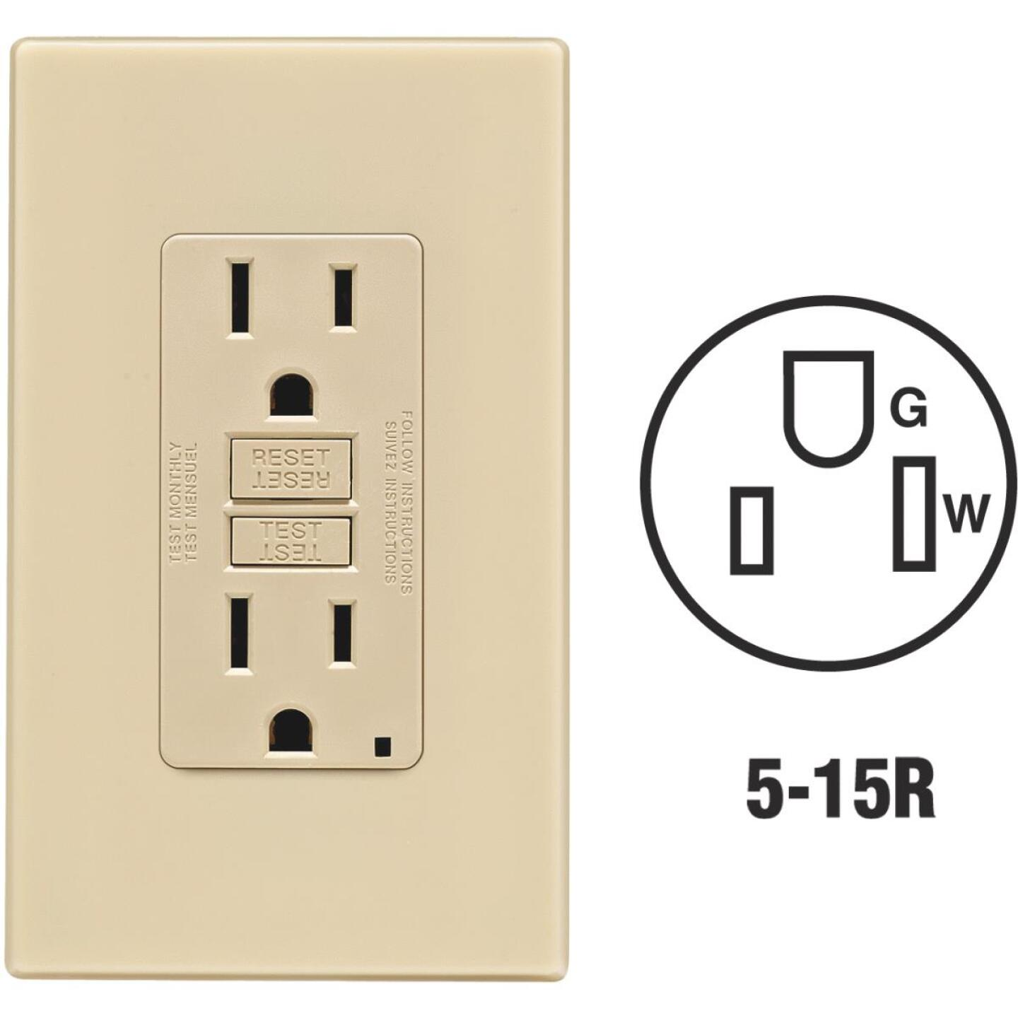 Leviton SmartlockPro Self-Test 15A Ivory Residential Grade 5-15R GFCI Outlet with Screwless Wall Plate Image 1