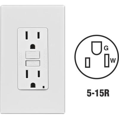 Leviton SmartlockPro Self-Test 15A White Residential Grade 5-15R GFCI Outlet with Screwless Wall Plate