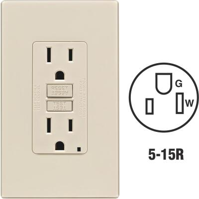 Leviton SmartlockPro Self-Test 15A Light Almond Residential Grade 5-15R GFCI Outlet with Screwless Wall Plate