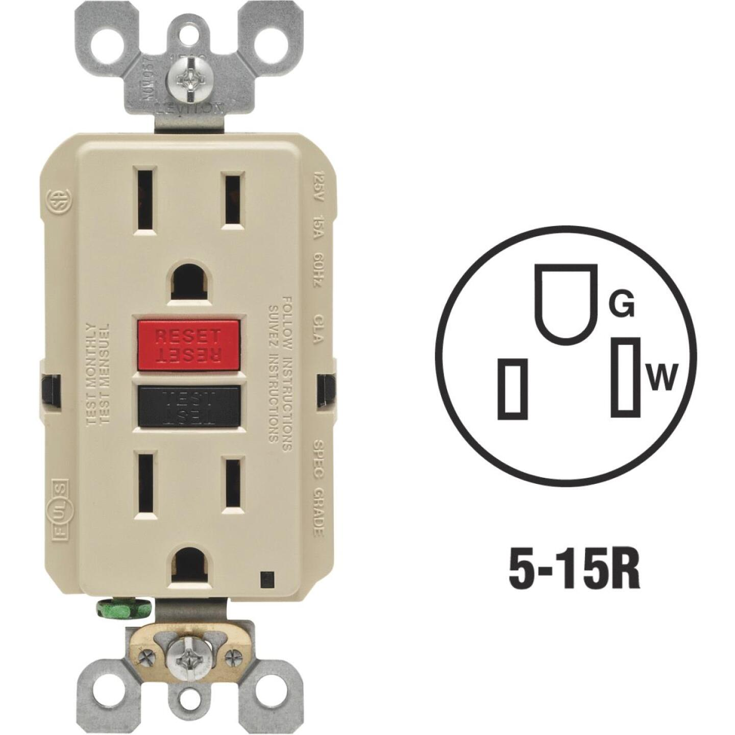 Leviton SmartlockPro Self-Test 15A Ivory Residential Grade 5-15R GFCI Outlet Image 1