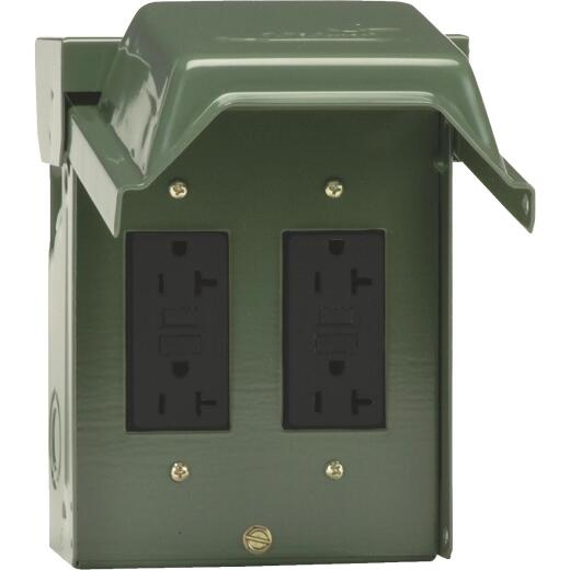GE Backyard 20A Green Residential Grade 5-20R GFCI Outlet with 2 Receptacles
