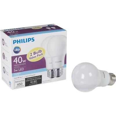 Philips 40W Equivalent Daylight A19 Medium LED Light Bulb (2-Pack)