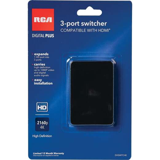 RCA 1 HDMI Port to 3 HDMI Port Switcher Adapter