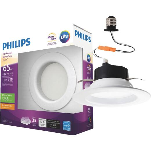 Philips Warm Glow 5 In. or 6 In. Retrofit IC/Non-IC Rated White LED Recessed Light Kit