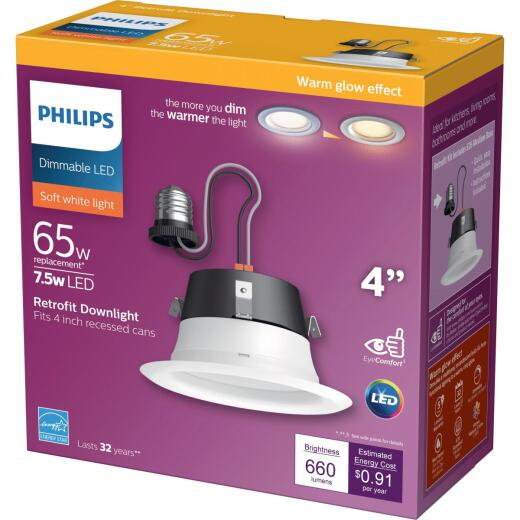 Philips Warm Glow 4 In. Retrofit IC/Non-IC Rated White LED Recessed Light Kit
